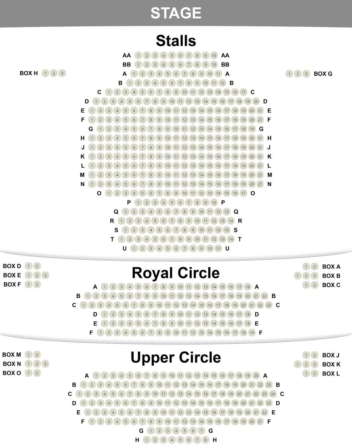 Duke of York's seating plan
